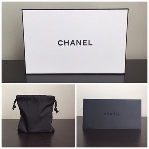 Authentic Chanel Gift Box, Pouch & Receipt Holder